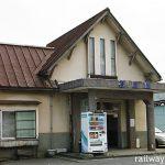 富山地鉄・電鉄石田駅。昭和33年築と言われるモダンな木造モルタル駅舎