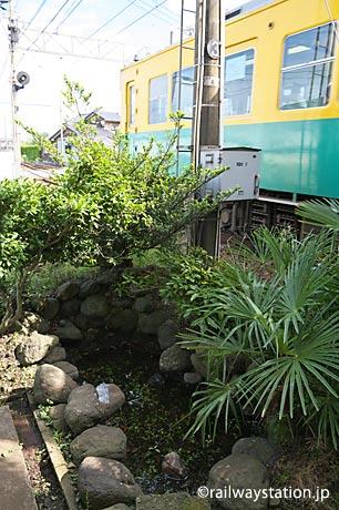 富山地鉄本線・電鉄石田駅の枯池。元京阪の車両が通り過ぎる