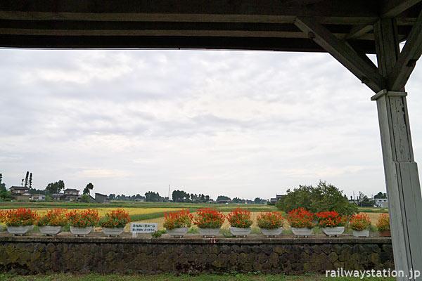 富山地鉄・立山線・釜ヶ淵駅、石積みホーム跡は花壇のように