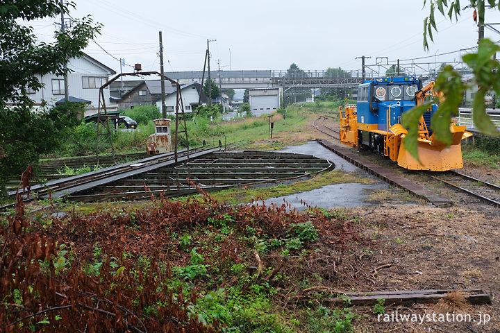 しなの鉄道北しなの線・黒姫駅、側線のターンテーブル(転車台)
