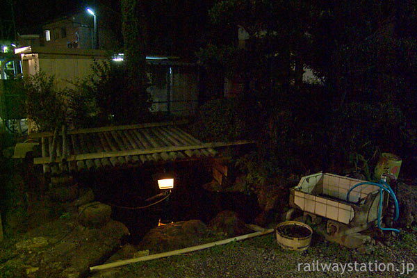 えちぜん鉄道・勝山永平寺線・永平寺口駅、夜の池庭(2008年)