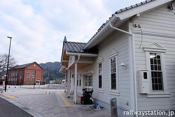えちぜん鉄道・永平寺口駅、新駅舎と旧京都電燈古市変電所