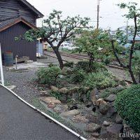 福井鉄道・西武生駅プラットホーム上の池のあるミニ庭園跡