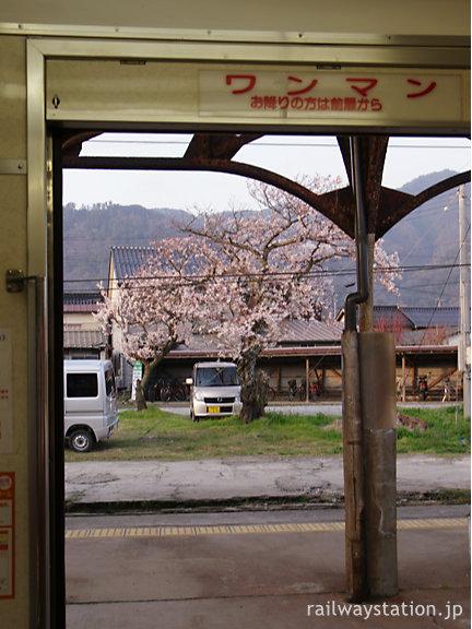 一畑電車・出雲大社駅、帰りの車内から見た駅構内の桜