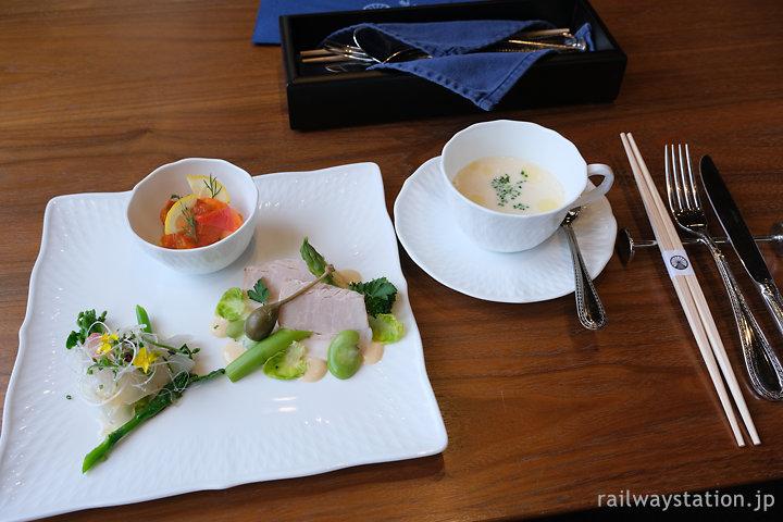 門司港駅舎みかど食堂ランチコースの前菜とスープ