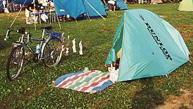 北海道自転車旅、初山別でのキャンプ風景