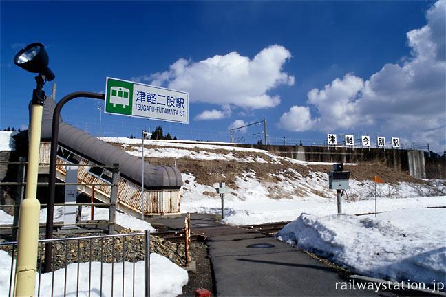 JR東日本・津軽線・津軽二股駅とJR北海道・海峡線・津軽今別駅