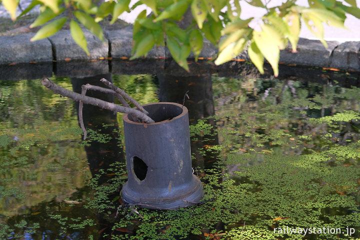 大磯駅の池庭、池中央の土管のオブジェ