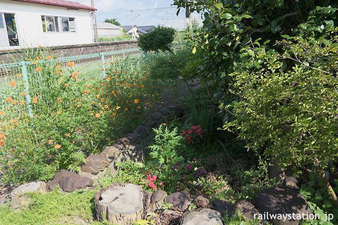 JR東北本線・仙北町駅、駅舎ホーム側の枯池