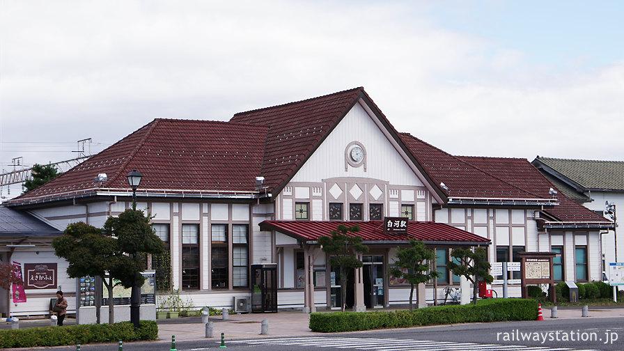 JR東日本東北本線・白河駅、大正築の洋風駅舎