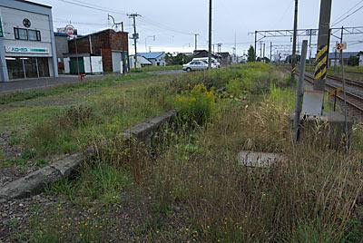 函館本線・江部乙駅、草に埋もれた側線ホーム跡