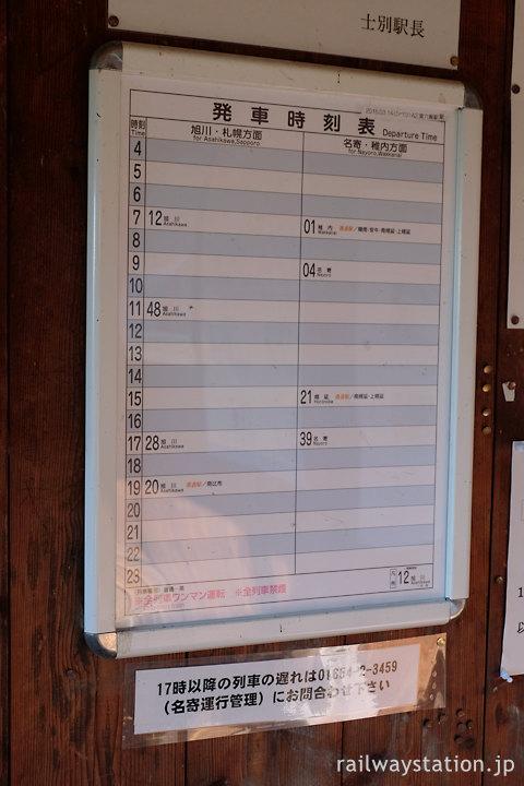 JR北海道宗谷本線・東六線駅待合室内の時刻表