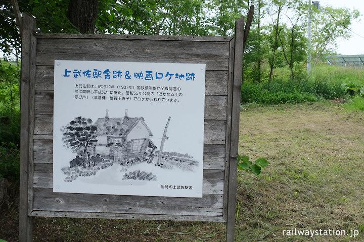 標津線・上武佐駅舎跡地と映画「遥かなる山の呼び声」ロケ地の看板