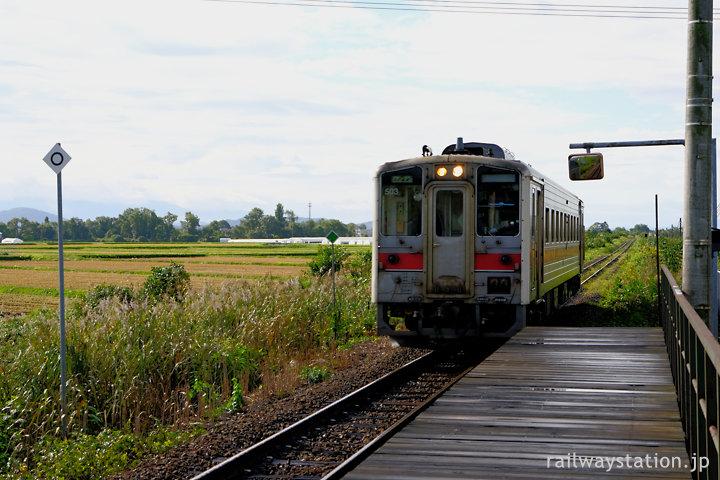 JR北海道・宗谷本線、南比布駅を通過してゆく普通列車