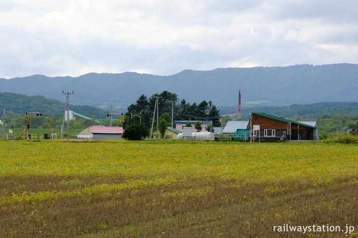 ユースホステル前バス停から眺める宗谷本線日進駅