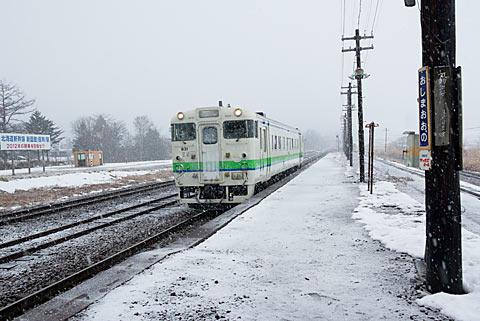 JR函館本線・渡島大野駅に入線したキハ40単行の普通列車