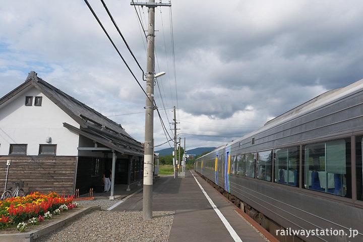 宗谷本線、上り特急サロベツで天塩中川駅へ…