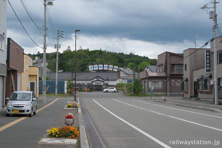 北海道中川町、天塩中川駅前の街並み