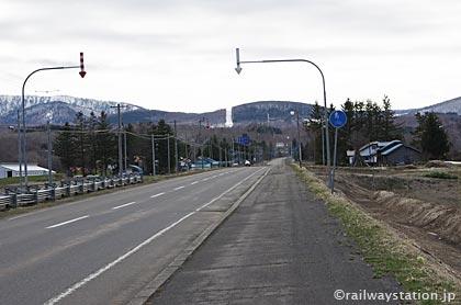 遠軽町、上白滝駅前の集落付近