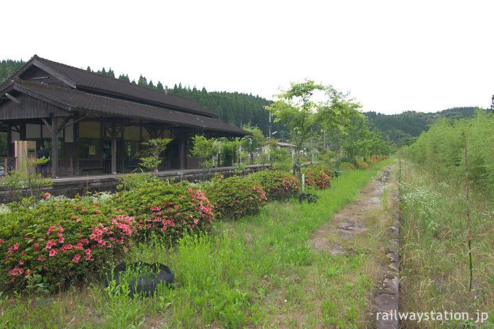JR九州肥薩線・嘉例川駅、つつじ咲く島式ホーム跡と木造駅舎