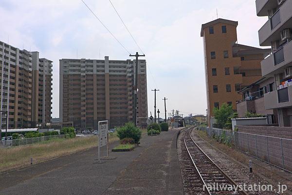 JR久大本線・南久留米駅、プラットホームと周囲の風景