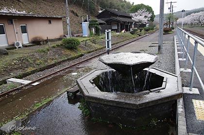 JR九州・肥薩線・大畑駅、ホーム上の湧水盆から湧き出る水