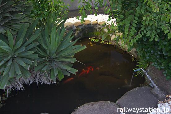 JR久大本線・小野屋駅、駅構内の金魚がいる池庭