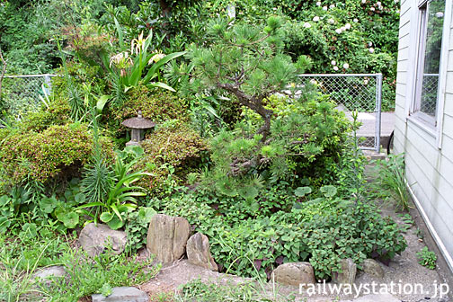 JR四国・予讃線・下灘駅構内にある廃れた池のある庭園跡(2002年)