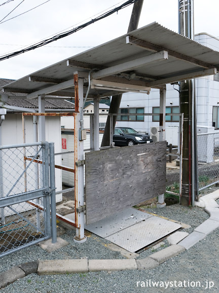 JR東海名松線・家城駅ホーム、腕木式信号機のテコ