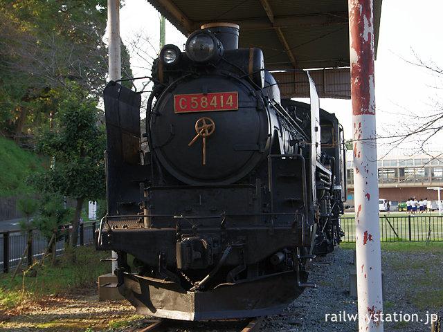 玉城町、田丸駅近くで静態保存されているSL・C58-414