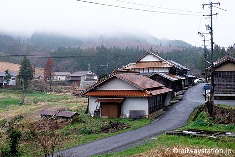 広島県庄原市、芸備線・道後山駅近くの集落