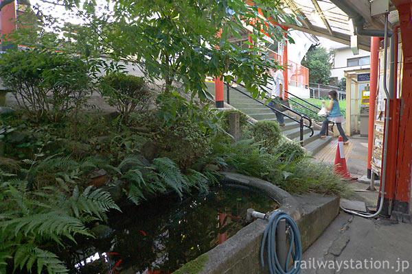 JR奈良線・稲荷駅、ホームと駅舎の間の階段横にある池庭
