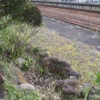 関西本線・佐那具駅、上りホームの枯池と信楽焼のたぬき