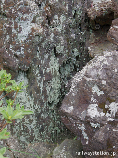 関西本線・草津線・柘植駅の池庭跡、岩の中の注水口