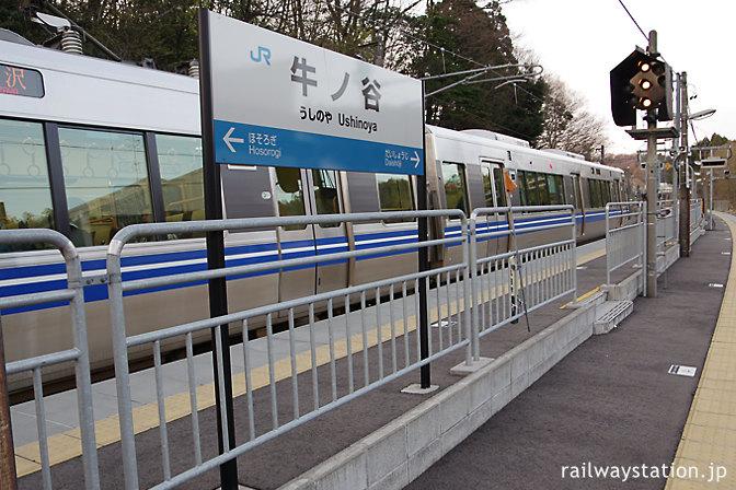 JR北陸本線・牛ノ谷駅、駅名標と521系電車