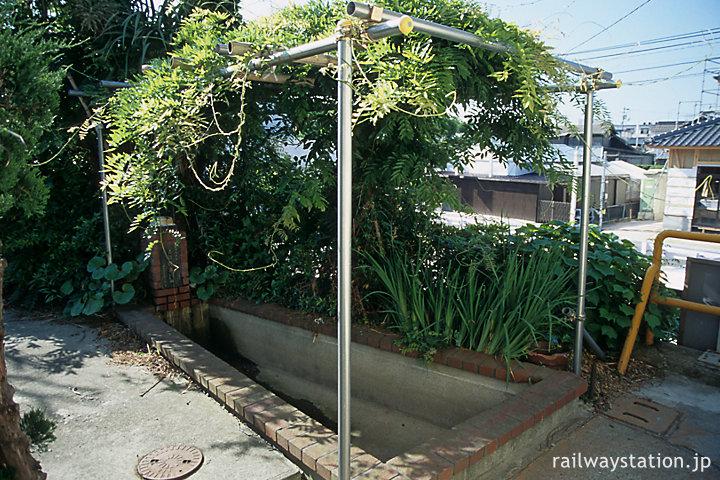 山陽本線・柳井港駅、藤棚のある駅の枯池