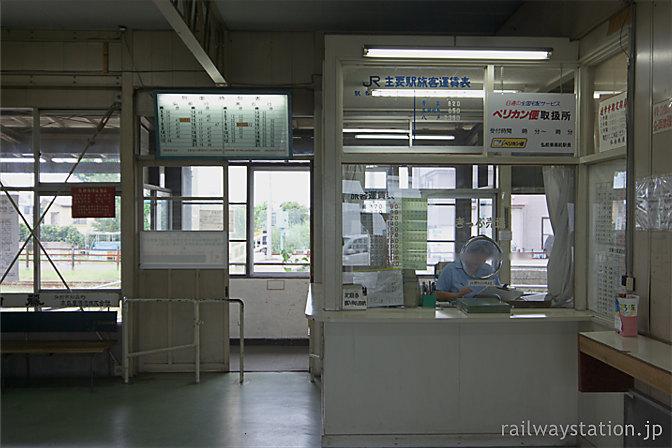 弘南鉄道・弘南線・弘前東高前駅の駅舎、切符売場と改札口
