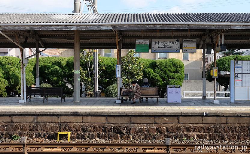 南海電鉄本線・浜寺公園駅、歴史感じる石積みのプラットホーム