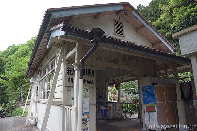 南海電鉄・高野線・紀伊細川駅、古くからの木造駅舎