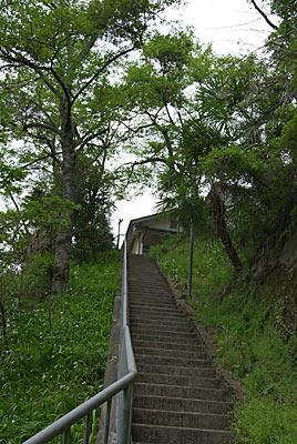 南海電鉄・高野線・紀伊細川駅、階段の下から駅を見下ろす