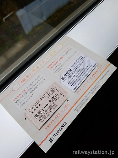 高野下駅舎ホテル、九度山駅おにぎり屋の朝食券と往復切符