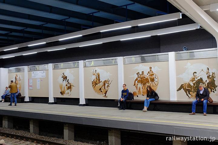 モスクワ地下鉄、ロシア戦役(祖国戦争)が描かれたクトゥーゾフスカヤ駅