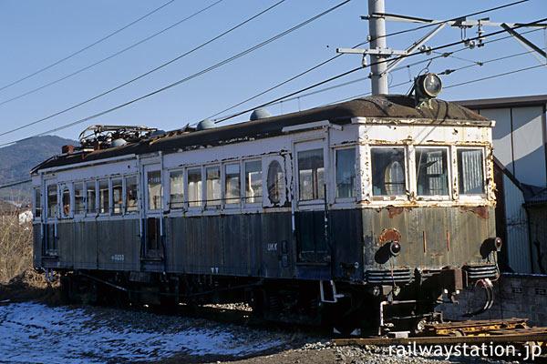 上田電鉄・別所線・中塩田駅に放置される丸窓電車モハ5250形