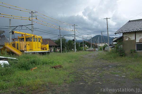 上田電鉄・別所線・中塩田駅、保線車両が留置された側線