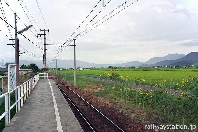 上田電鉄・八木沢駅、山並みに囲まれた塩田平の広々とした眺め