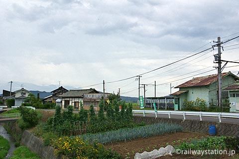 上田電鉄・別所線・八木沢駅、駅前の風景