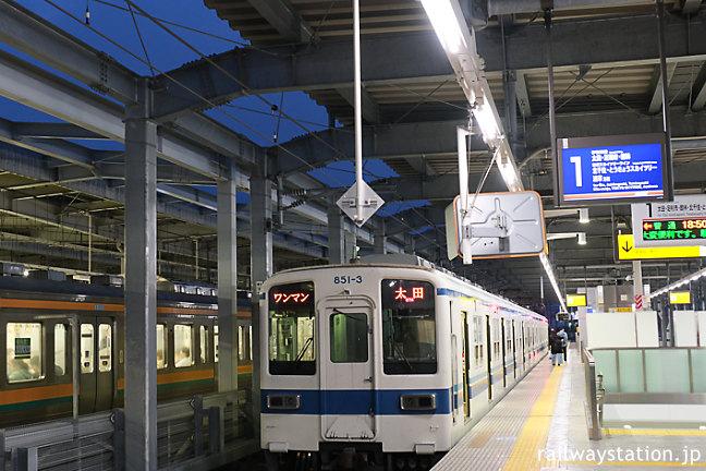 東武鉄道・伊勢崎線・伊勢崎駅、高架化されたホーム