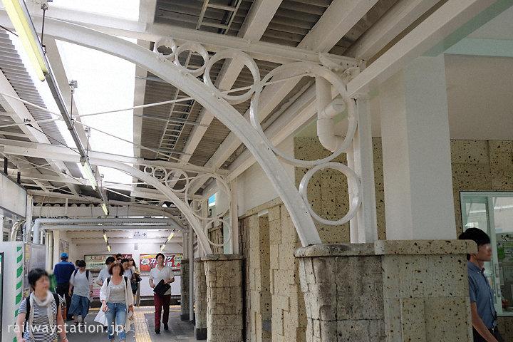 東武東上線・ときわ台駅、大谷石の壁と古レール特徴的な駅舎ホーム側