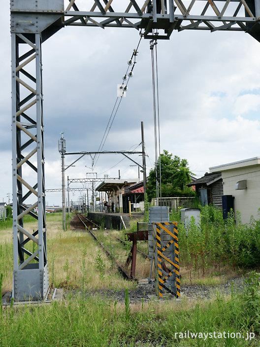養老鉄道の終着駅・揖斐駅、レールが尽きる車止め